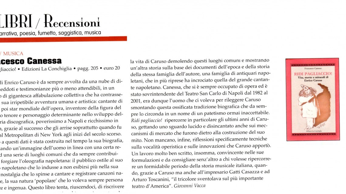 """Recensione di Giovanni Vacca per """"Ridi Paglaiccio! Vita, morte e miracoli di Enrico Caruso"""" su Blow Up."""