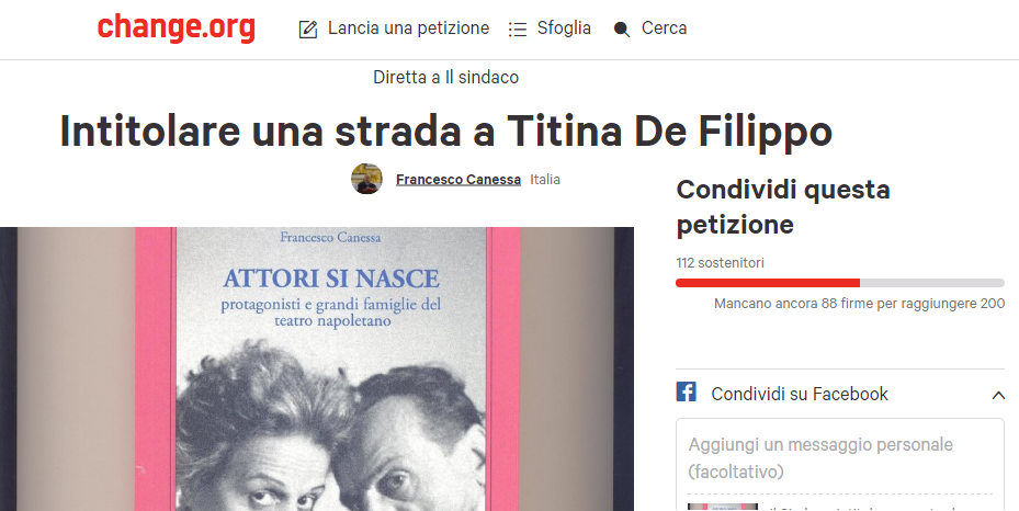 Petizione promossa da Francesco Canessa per intitolare una strada a Titina De Filippo