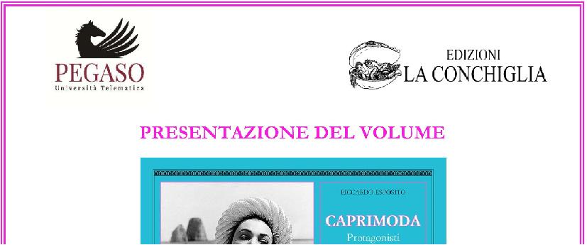 """banner presentazione """"CapriModa - Protagonisti, impresi, eventi"""" di Riccardo Esposito all'Università Telematica Pegaso di Napoli"""