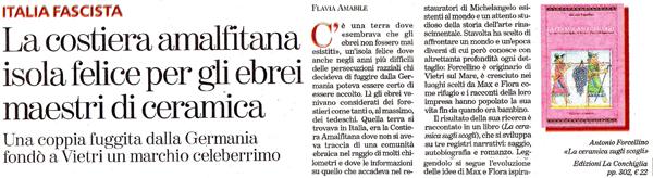 Banner articolo Tuttolibri per La ceramica sugli scogli di Antonio Forcellino, Edizioni La Conchiglia