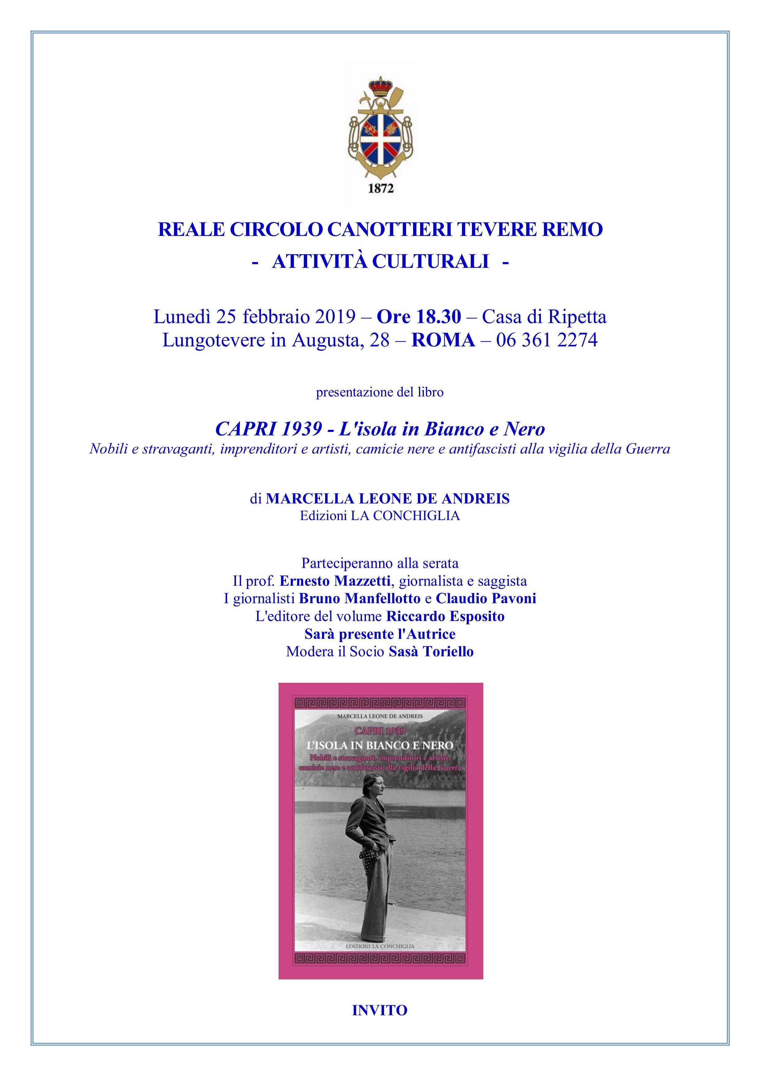 Presentazione di Capri1939 - L'Isola in bianco e nero di Marcella Leone DeAndreis a Roma, al Reale Circolo Canottieri Tevere Remo