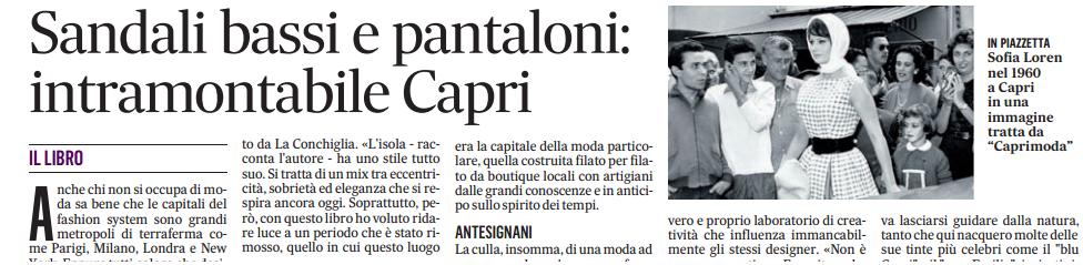 """Recensione di """"CapriModa"""" sul Messaggero"""