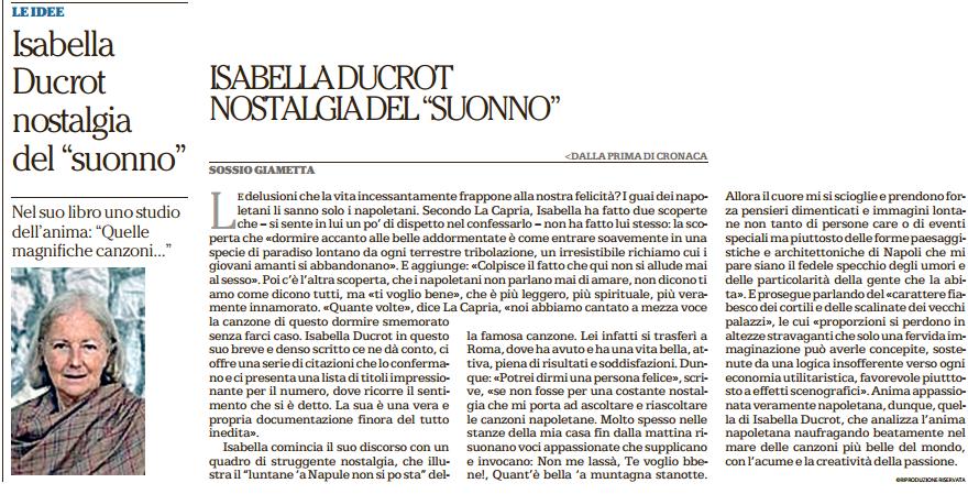 Recensione di Suonno di Isabella Ducrot su Repubblica - Napoli
