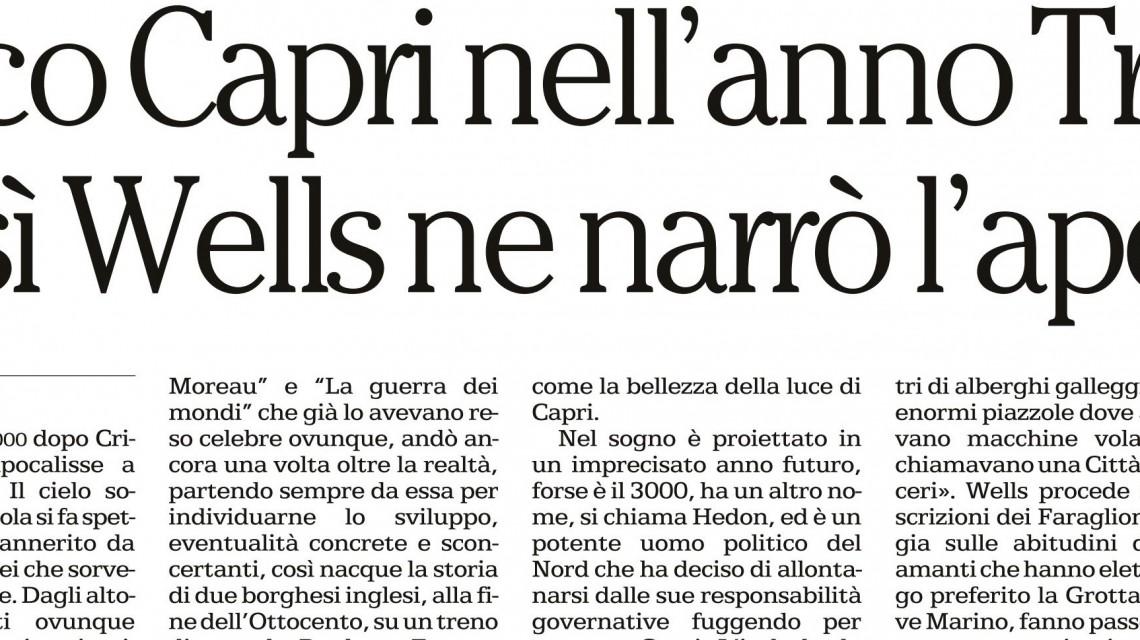 banner articolo Razzano su La Repubblica Napoli per Un sogno di Armageddon di H.G.Wells