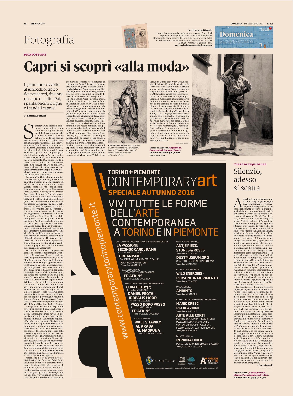 """Articolo di Laura Leonelli per Il Sole 24 Ore su """"Caprimoda"""" di Riccardo Esposito - Edizioni La Conchiglia"""