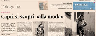 titolo per articolo del Sole 24 Ore su Caprimoda di Riccardo Esposito - Edizioni La Conchiglia