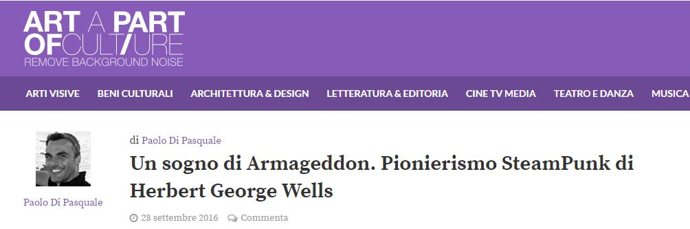 """articolo di Paolo Di Pasquale su artapartofcolture.net per """"Un sogno di Armageddon"""" di H.G. Wells, Edizioni La Conchiglia, Capri."""