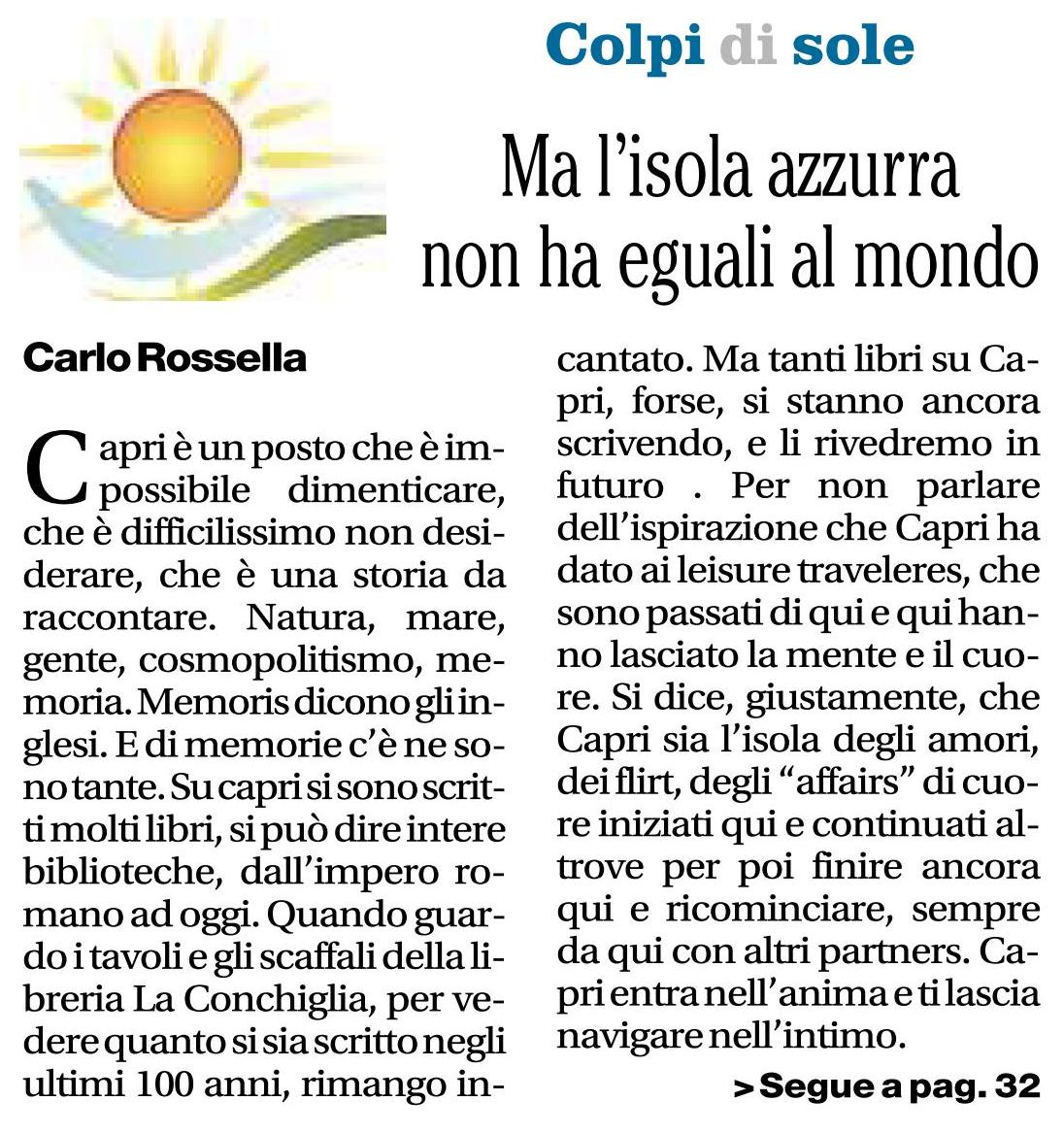 Carlo Rossella su Il Mattino, 11 agosto 2017
