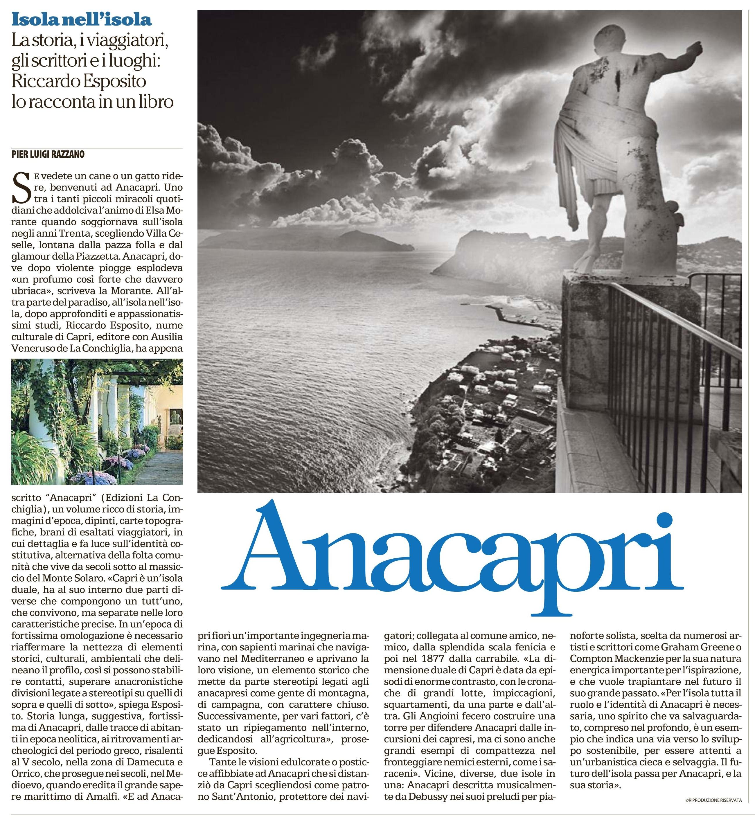 """Articolo di Pierluigi Razzano su """"Anacapri"""" di Riccardo Esposito per La Repubblica Napoli. Edizioni La Conchiglia Capri."""