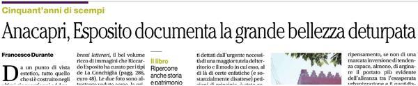 Francesco Durante su Il Mattino recensisce Anacapri di Riccardo Esposito - Edizioni La Conchiglia