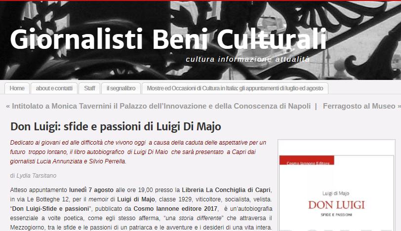 articolo giornalisti beni culturali presentazione Di Majo