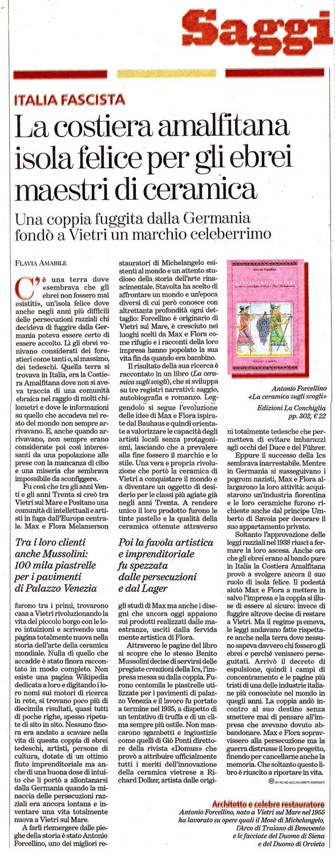 Recensione sul Tuttolibri de La Stampa di La ceramica sugli scogli di Antonio Forcellino - Edizioni La Conchiglia