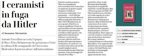 """Banner recensione libro """"La ceramica sugli scogli"""" di Antonio Forcellino di Susanna Nirenstein, Robinson, La Repubblica, 19-11-2017"""