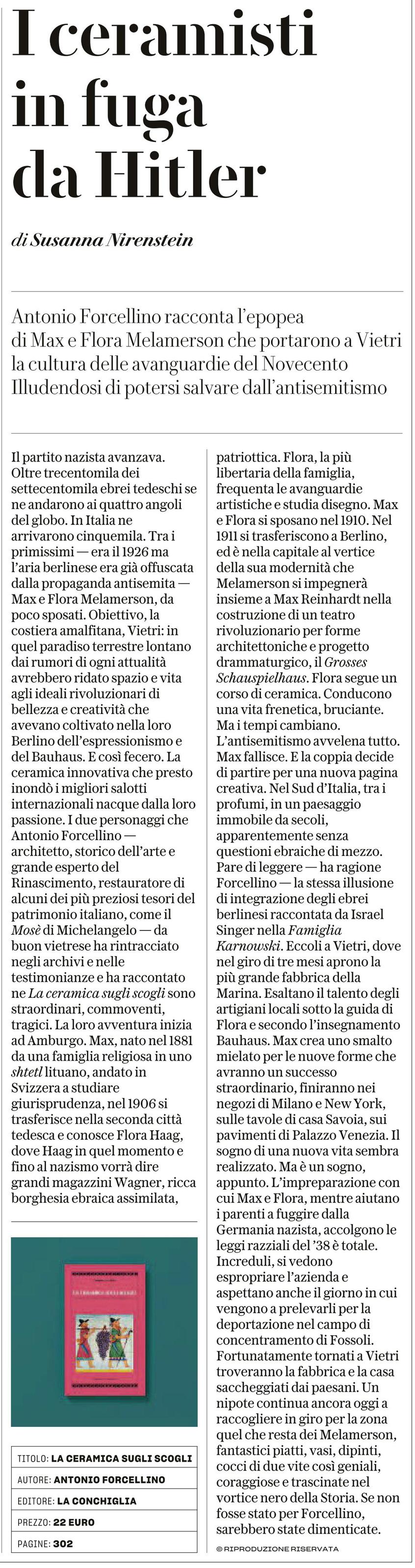 """Recensione libro """"La ceramica sugli scogli"""" di Antonio Forcellino di Susanna Nirenstein, Robinson, La Repubblica, 19-11-2017"""