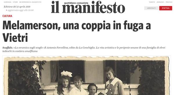 Banner per articolo de Il Manifesto per La ceramica sugli scogli di Antonio Forcellino, Edizioni La Conchiglia.