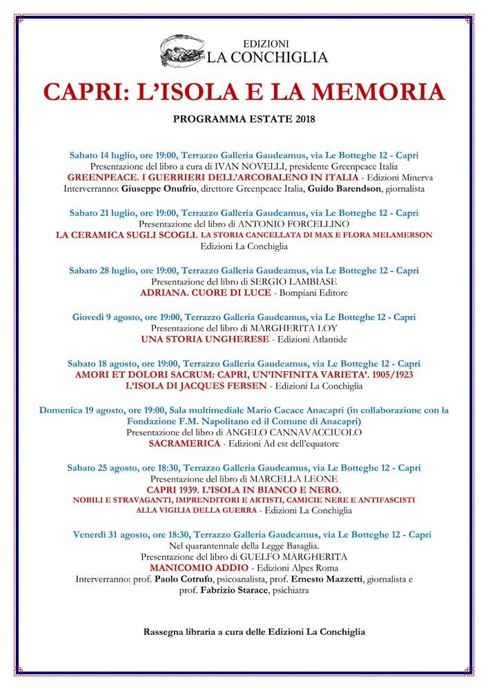 Programma La Conchiglia 2018 - bassa