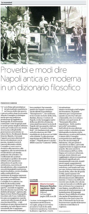 Recensione di Francesco Canessa su La Repubblica Napoli per Dizionario filosofico napoletano di Alberto Consiglio